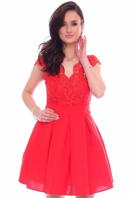 Sukienka koronkowa CMK946 czerwona