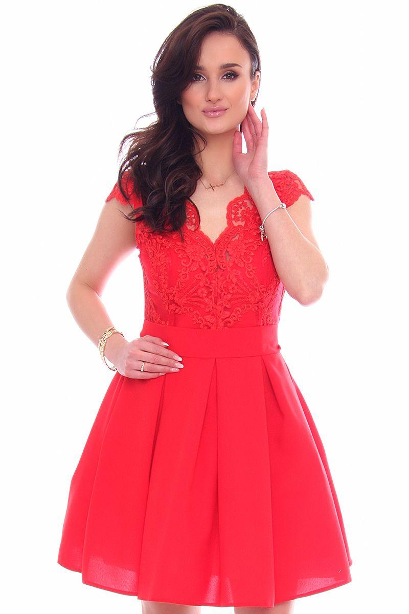 fd35b2b85a Sukienka zakładki koronka CMK946 czerwona sukienki modne CosmosModa