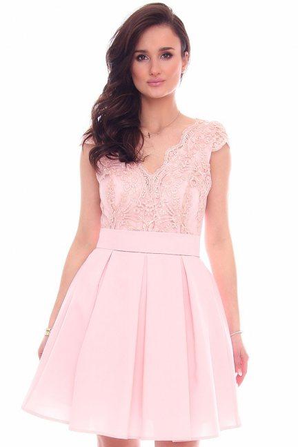 Sukienka koronkowa CMK946 różowa