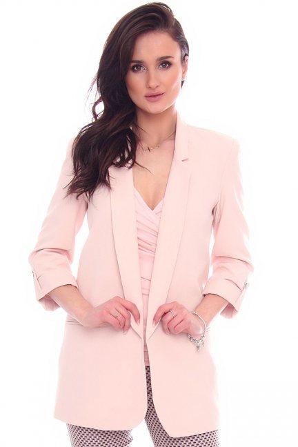 Żakiet elegancki dłuższy CMK961 różowy