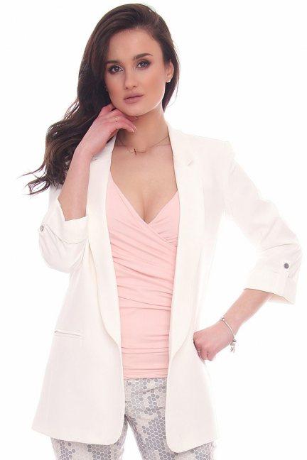 Żakiet elegancki dłuższy CMK961 biały