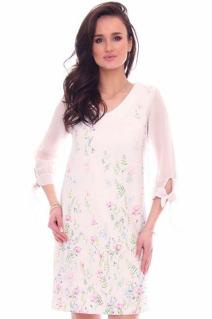 Sukienka szyfonowe rękawy CMK962 biała