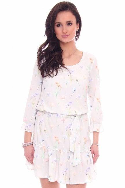 Sukienka w kwiaty wiązana CMK963 biała