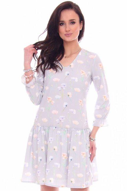 Sukienka mini w kwiaty CMK964 szara