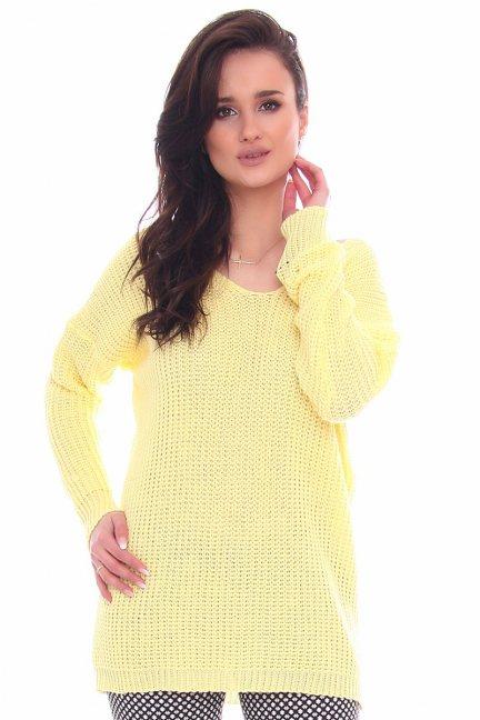 Sweter damski oversize CMK2068 żółty