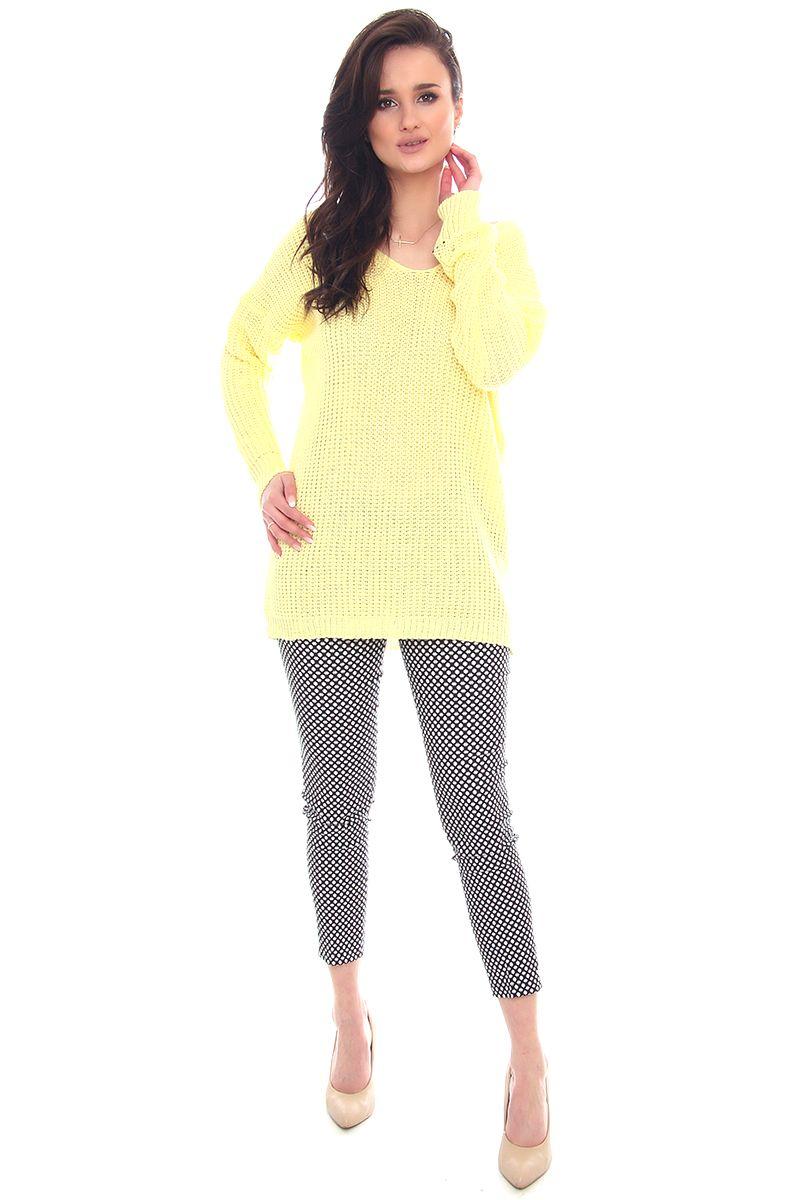 46b4bf9e6ed47e ... Sweter ciepły na długi rękaw; Sweter modny oversize żółty; Sweter damski  na jesień; Modne swetry damskie w sklepie online CosmosModa