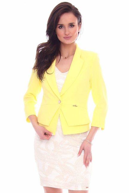 Żakiet modny krótki CMK966 żółty
