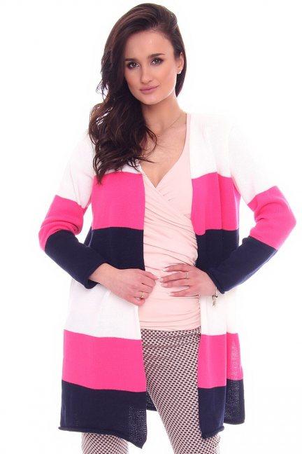 Sweter kardigan rozcięcie CMK2071 różowy