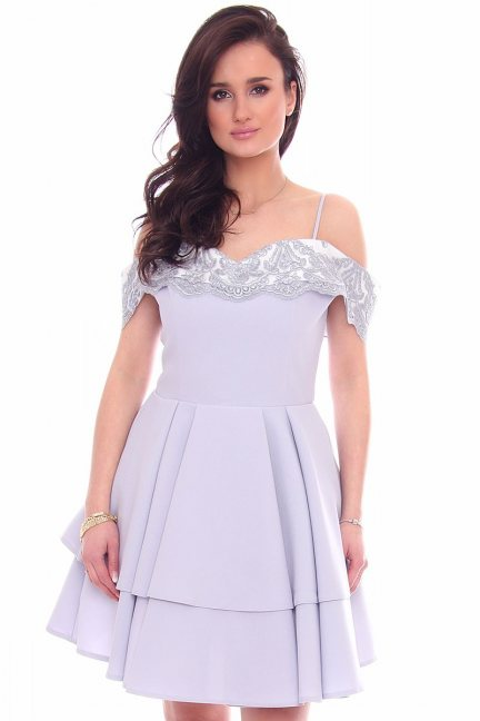 Sukienka elegancka mini CMK969 szara