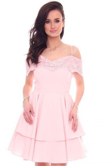 Sukienka elegancka mini CMK969 różowa