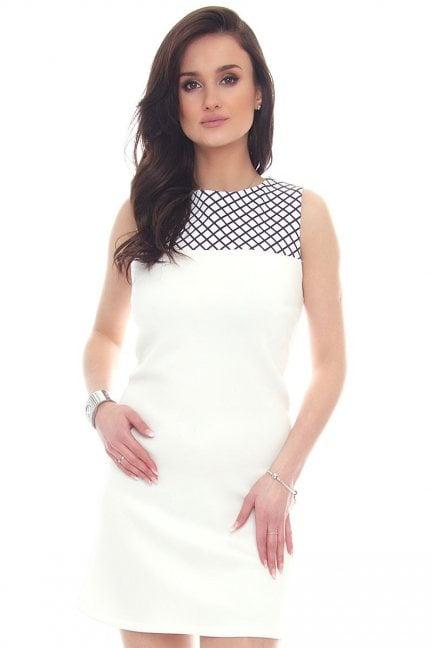 Sukienka trapezowa w kratkę CM083 biała
