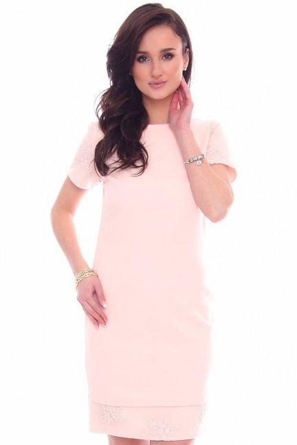 Sukienka modna z koronką różowa
