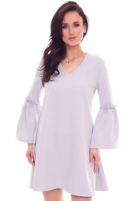 Sukienka trapezowa bufki CM590 szara