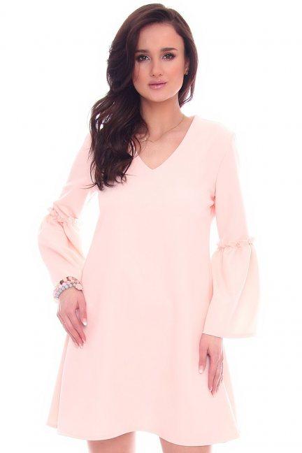 Sukienka trapezowa bufki CM590 różowa