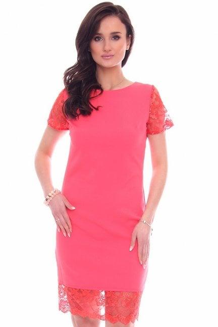 Sukienka midi z doszytą koronką koralowa