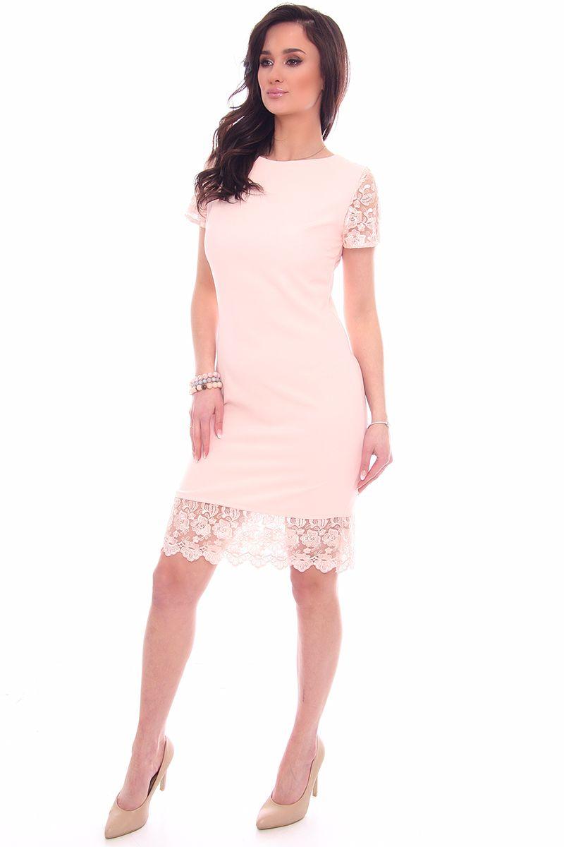 d0e09b8780 Sukienka damska z koronką CM588 pudrowy róż  Sukienka elegancka na wesele   Sukienka modna z krótkim rękawem ...