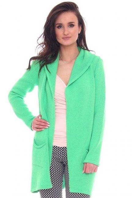 Sweter kardigan kaptur CMK2070 zielony