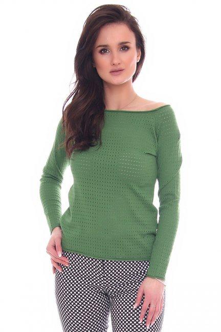 Sweter damski z dziurami CMK2072 zielony