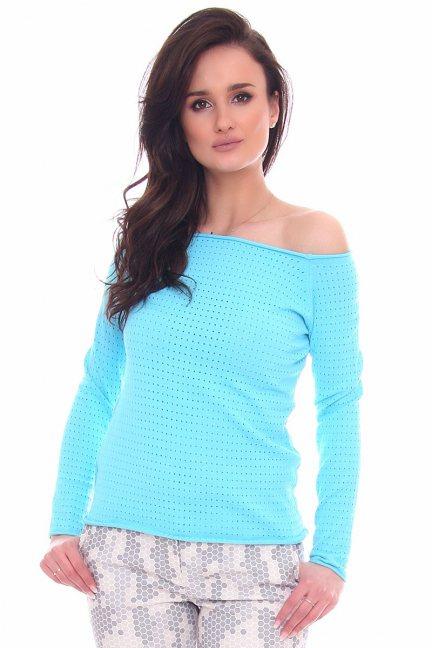 Sweter damski z dziurami CMK2072 niebieski
