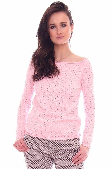 Sweter damski z dziurami CMK2072 różowy