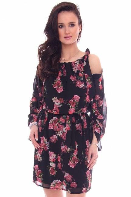 Sukienka elegancka w kwiaty CMK974 czarna