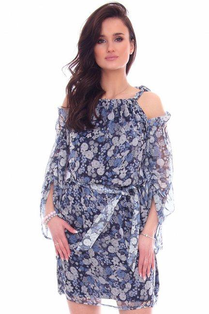 Sukienka elegancka w kwiaty CMK974 niebieska