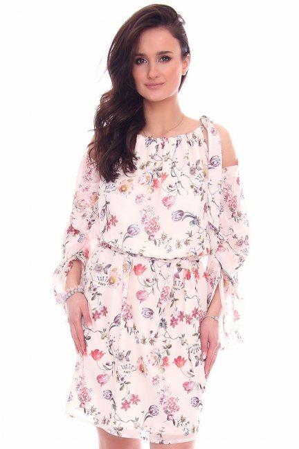 Sukienka elegancka w kwiaty CMK974 pudrowy róż