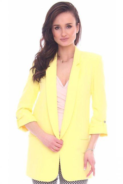 Żakiet elegancki dłuższy CMK961 żółty