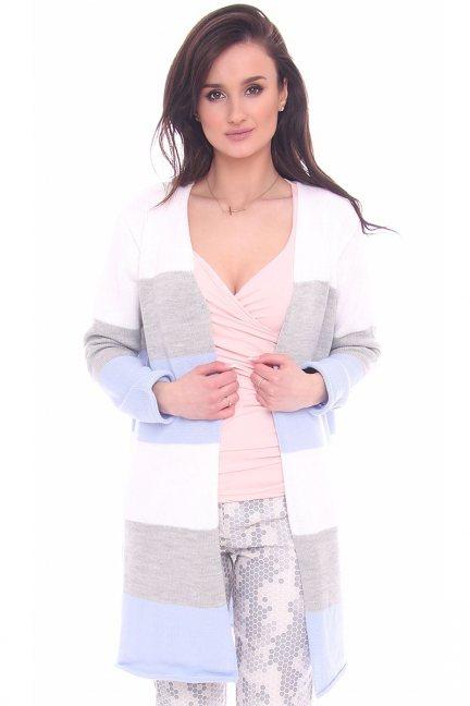 Sweter kardigan rozcięcie CMK2071 błękitny