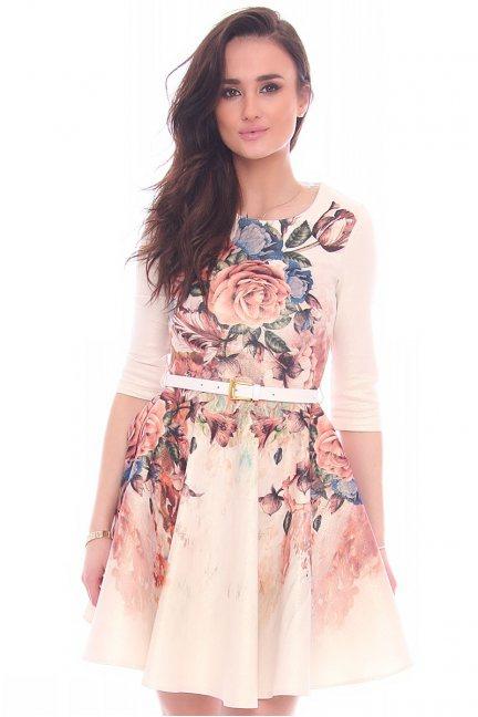 Sukienka pozłacana kwiaty CMK981 beżowa