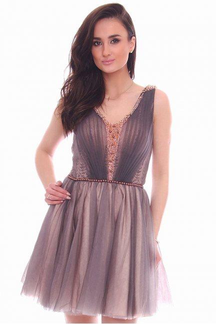 Sukienka tiulowa koraliki CMW23 szaro-różowa