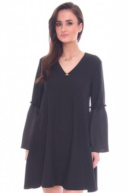 Sukienka trapezowa bufki CM590 czarna