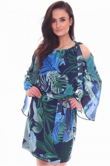 Sukienka elegancka w kwiaty CMK974 zielona