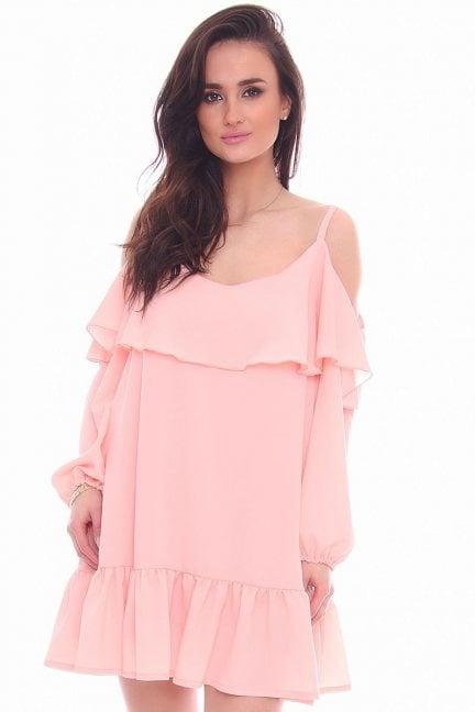 Sukienka hiszpanka falbanki CMK785 różowa