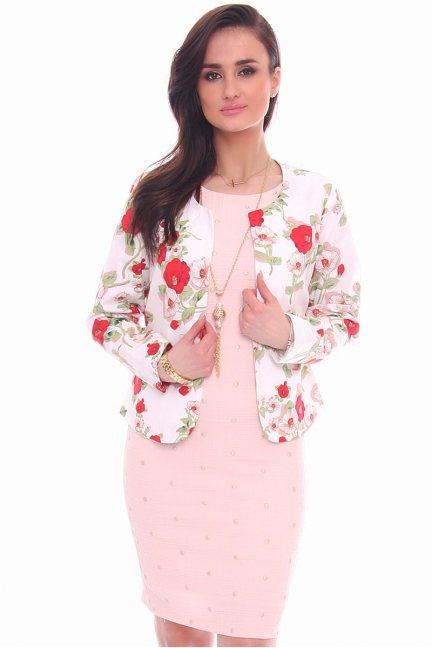 Żakiet elegancki w kwiaty CMK983 biały