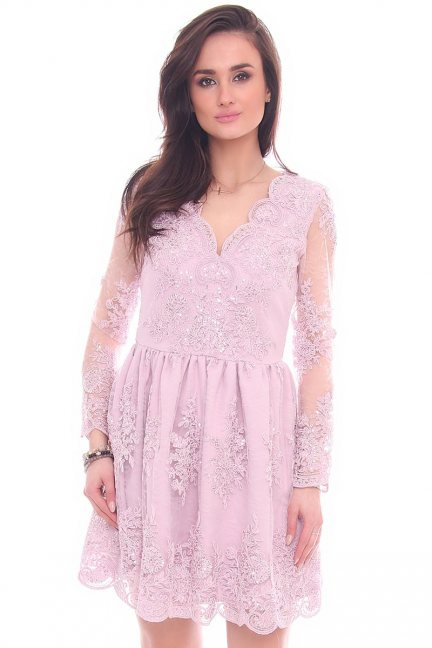 Sukienka rozkloszowana z koronki różowa