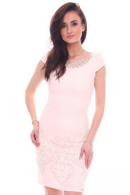 Sukienka ozdobny dekolt CMK984 różowa