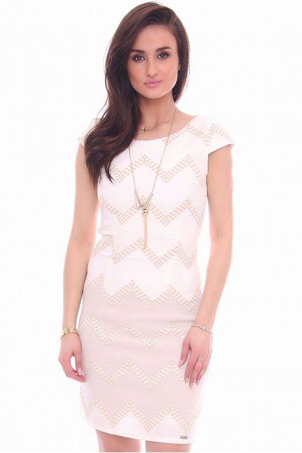 Sukienka elegancka zygzaki CMK985 biała