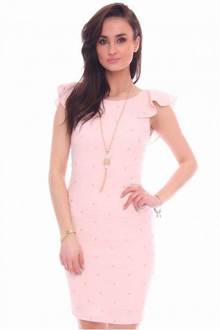 Sukienka ołówkowa falbanki CMK987 różowa