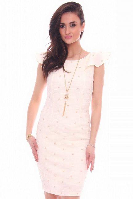 Sukienka ołówkowa falbanki CMK987 ecru