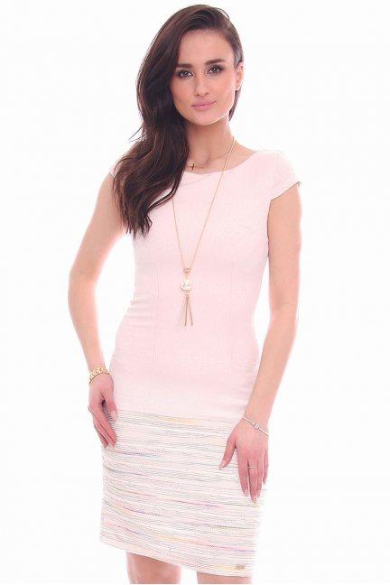 Sukienka kolorowe paski CMK988 różowa