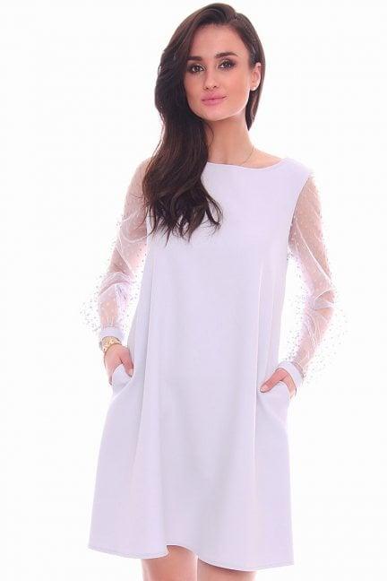 Sukienka rękawy w kropki CMK989 szara