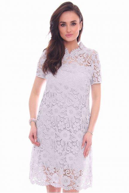 Sukienka modna z koronki CMK990 szara