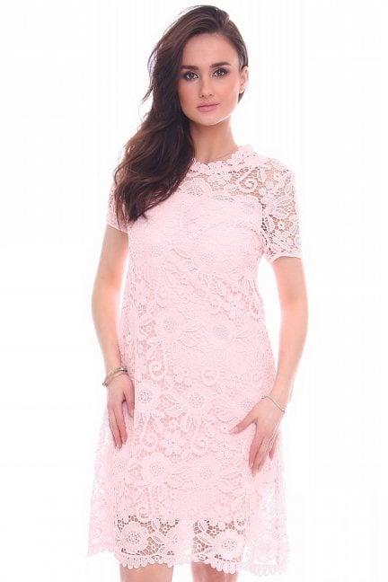 Sukienka midi z koronki CMK990 różowa