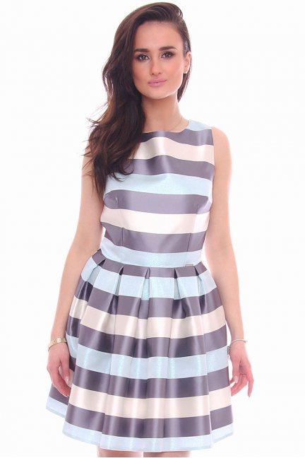 Sukienka w kolorowe pasy CMK992 błękitna