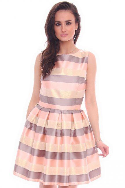 Sukienka w kolorowe pasy CMK992 morelowa