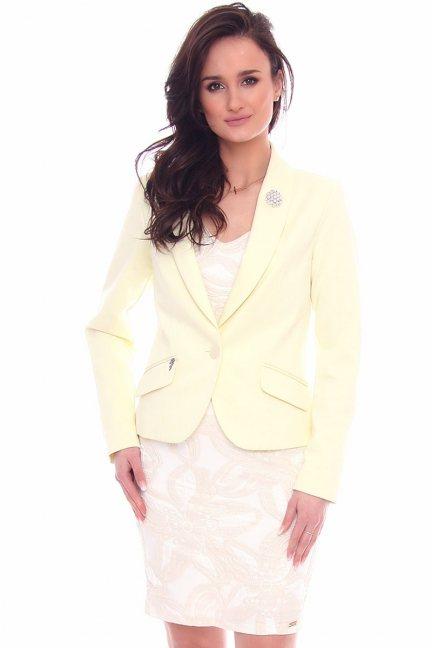 Żakiet damski z ozdobą CMK965 żółty