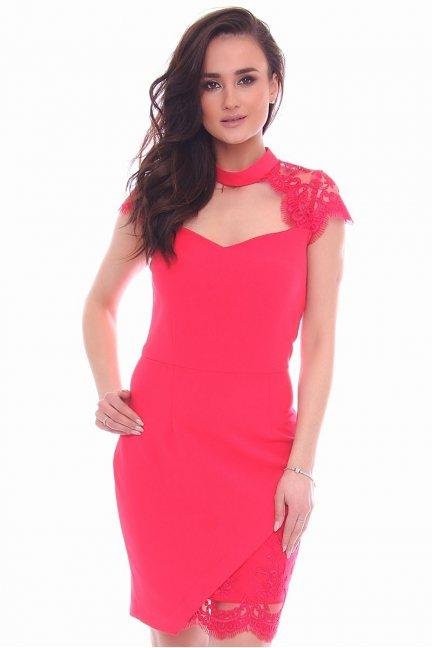 Sukienka dopasowana mini choker czerwona