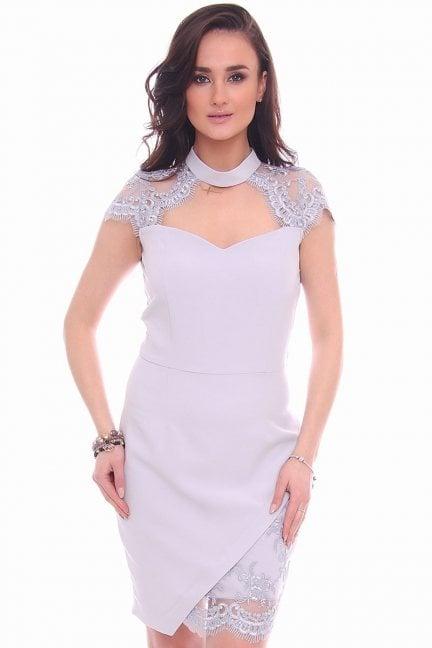 Sukienka dopasowana mini choker szara