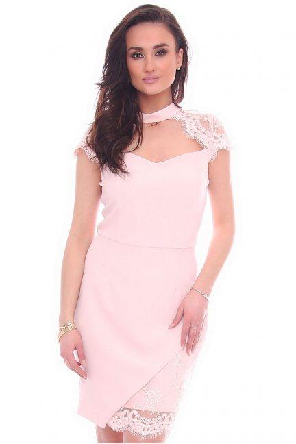 Sukienka dekolt choker CMK994 różowa
